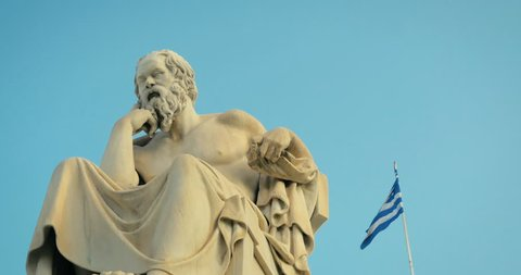 Greatest philosopher of ancient Greece Socrates reflects on the meaning of life. On the background of Greek flag.
