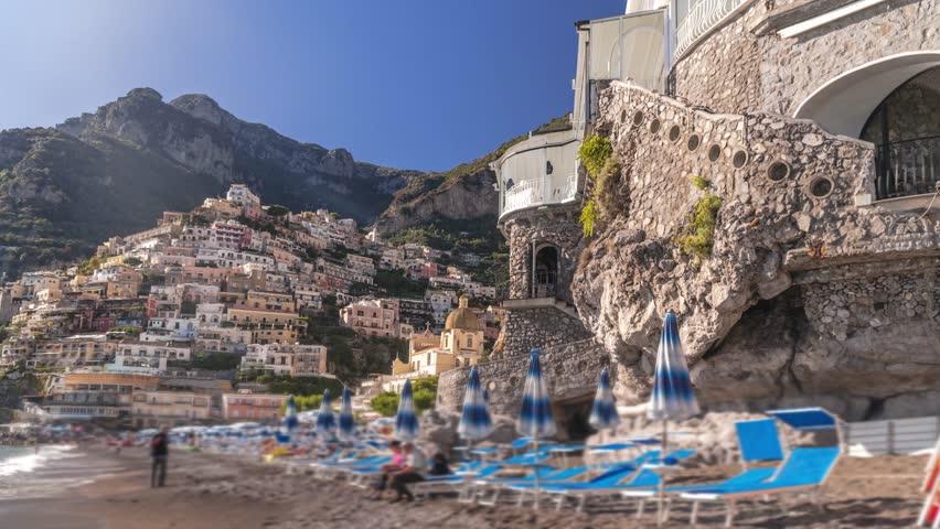 hiper time lapse of Positano, beautiful Mediterranean village on Amalfi Coast (Costiera Amalfitana) in Campania, Italy. travel tour concept design, bast place. hotels villas and beach