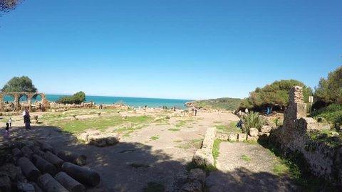 TIPASA, ALGERIA - APR 9, 2016:Ruins of Tipasa(Tipaza).The antic city was a colonia in Roman province Mauretania Caesariensis located in coastal central Algeria. Declared by UNESCO World Heritage Site