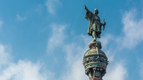 The Columbus Monument in Barcelona. Bronze statue represents Christopher Columbus pointing towards the New World with his right hand.