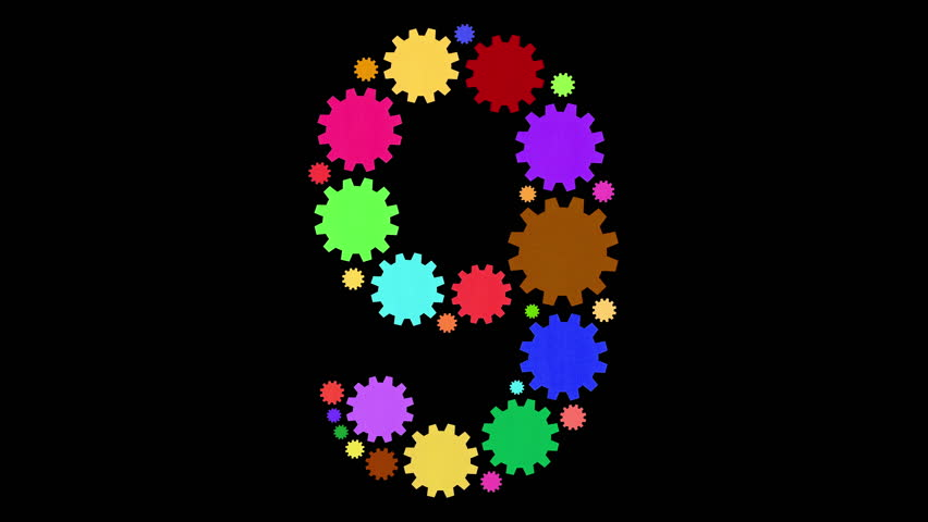 Multicolored moving cogs shaping a number 9 | Shutterstock HD Video #34127788