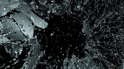 Pieces of destructed Shattered glass in slow motion. Alpha matte. 3d render, 3d animation