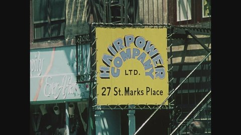 NEW YORK, 1971, The Bitter End caf_ in Greenwich Village, New York City, , Hairpower sign St. Marks Place