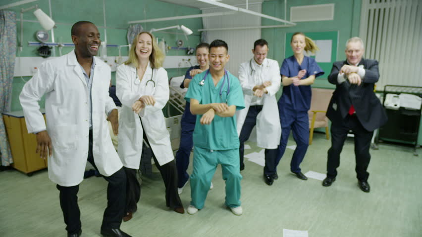 Crazy hospital patients and staff  stop working to show off some energetic moves to the latest big dance craze