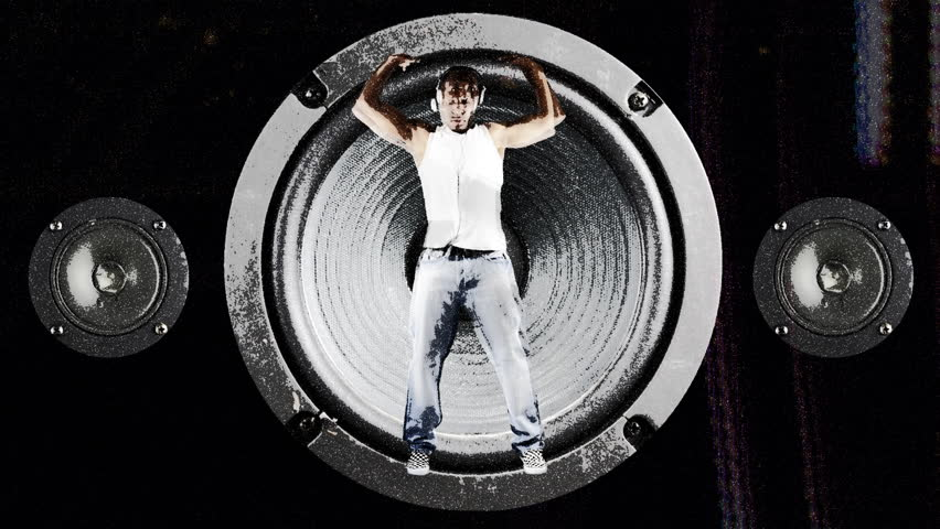 young man stuck, dancing in a speaker