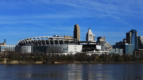 CINCINNATI, OHIO/UNITED STATES- DECEMBER 7, 2017: Timelapse of Paul Brown Stadium in Cincinnati, Ohio 4K [Cincinnati]
