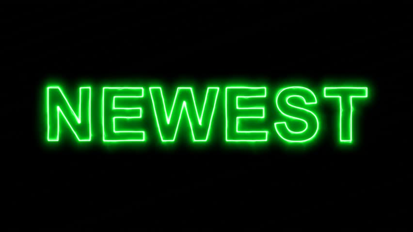 Neon flickering green text NEWEST in the haze. Alpha channel Premultiplied - Matted with color black | Shutterstock HD Video #34188001