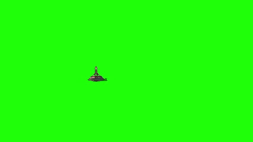 Catapult Wall Destruction Debris Green Screen Front Smoke Medieval 3D Renderings Animations