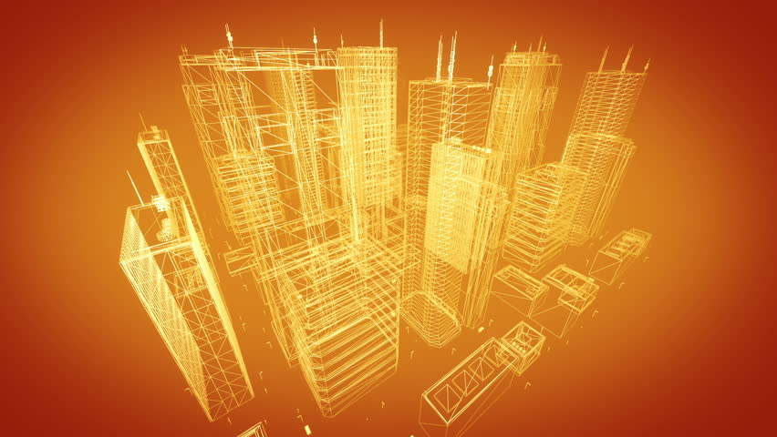 Architectural blueprint of contemporary buildings, orange tint