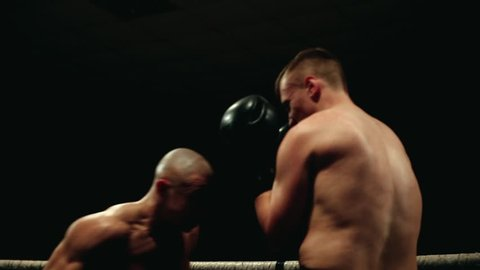In the boxing ring, the pumped-up bald Boxer conducts a duel with a partner in boxing gloves.