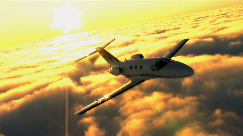 Corporate businessmen travel by Cessna Mustang jet