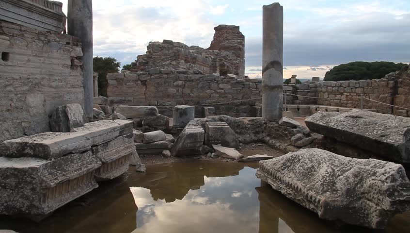 Water and ruins of temple in Ephesus, Turkey