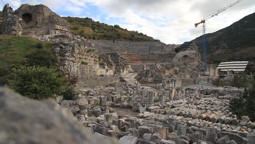 Ruins of ancient theater in Ephesus, Turkey