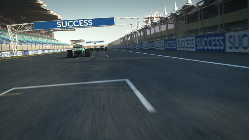 formula one racecars crossing finishing line - POV - high quality 3d animation - visit our portfolio for more