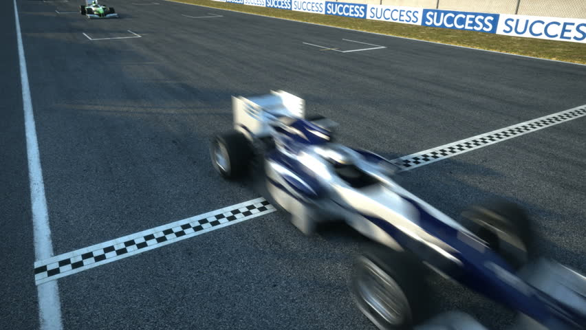 Formula one racecars crossing finishing line - static cam - high quality 3d animation - visit our portfolio for more | Shutterstock HD Video #3426920