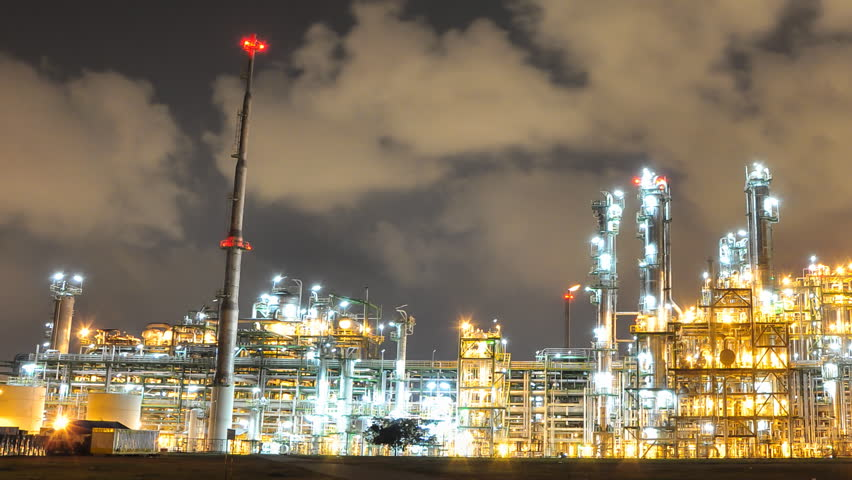 Night scene of Oil and Chemical Plant - Time Lapse #3427631