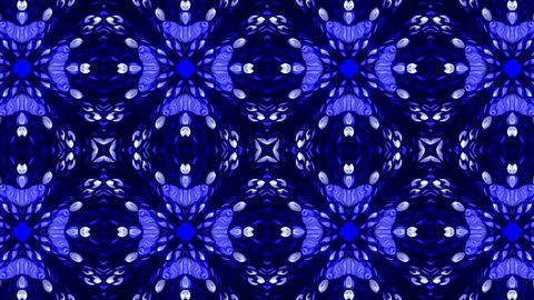 Glowing seamless blue and white kaleidoscope. Dynamic abstract animation