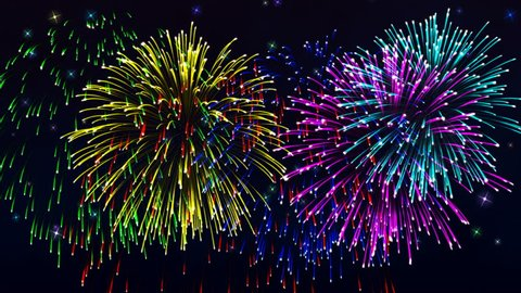 Beautiful cg animation fireworks in celebration day. This salute can be seen at the opening of the festival , on independence day, new year and other holidays, 4K seamless loop