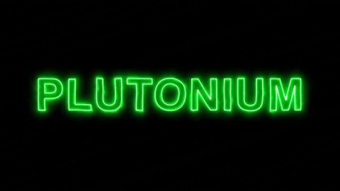 Neon flickering green Element of periodic table PLUTONIUM in the haze. Alpha channel Premultiplied - Matted with color black