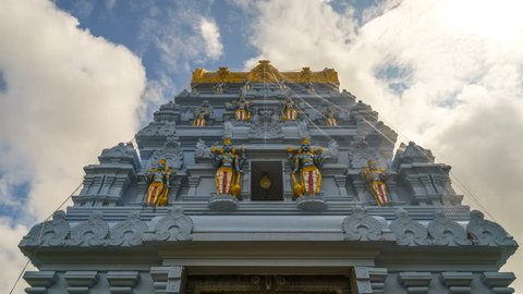 South India temple Gopuram architecture 4k time lapse with clouds