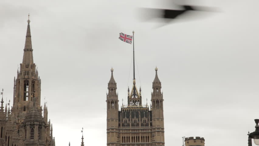 Union Jack flying above Westminster Palace.