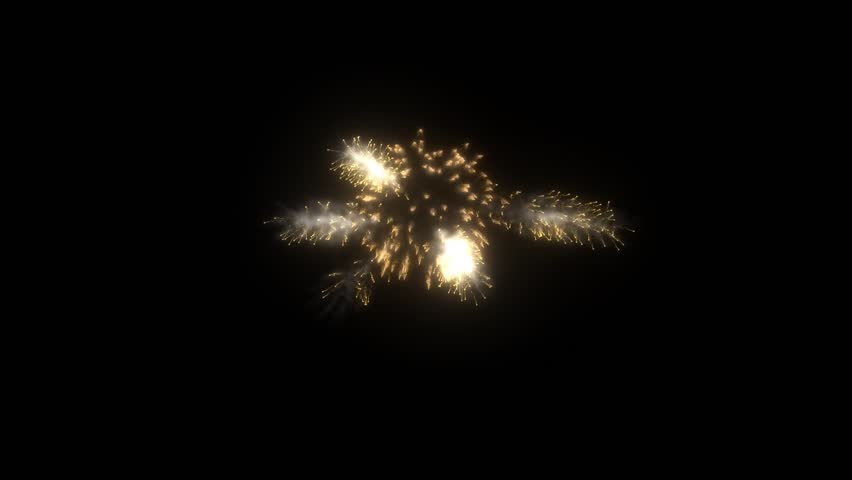 Beautiful Single with Multiple Gold Firework for Background or a part of your business project, holiday or business presentation. 3D Render, HD 1920x1080