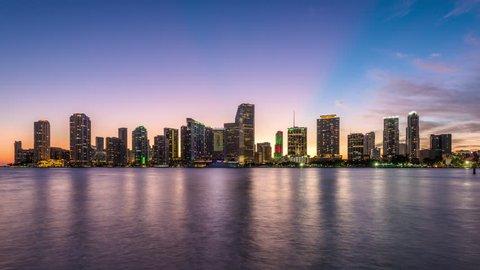 Miami, Florida, USA downtown skyline on Biscayne Bay.