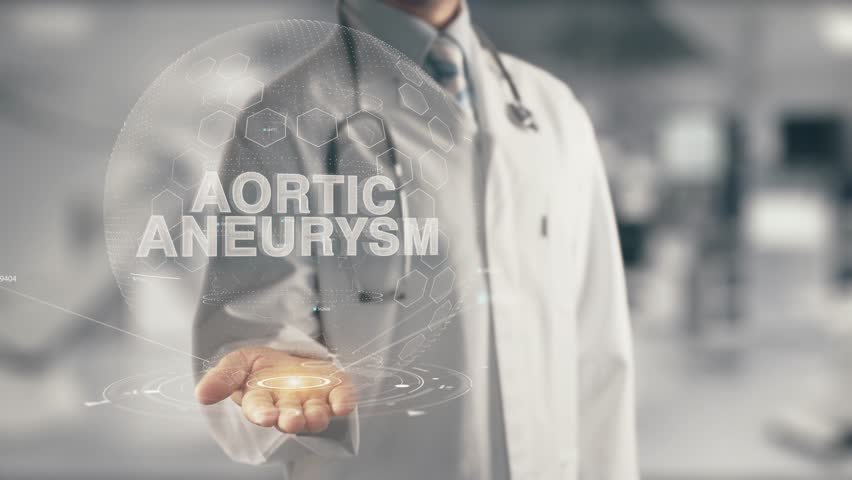Doctor holding in hand Aortic Aneurysm