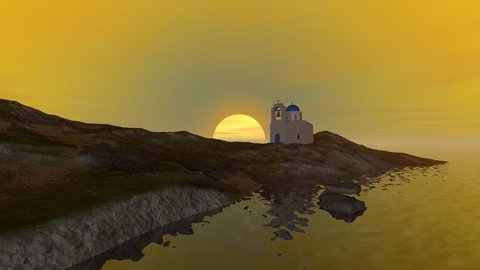 Sunset, 3D rendering, animation for a beautiful  landscape, a white church with a bell tower and reflection in the sea.