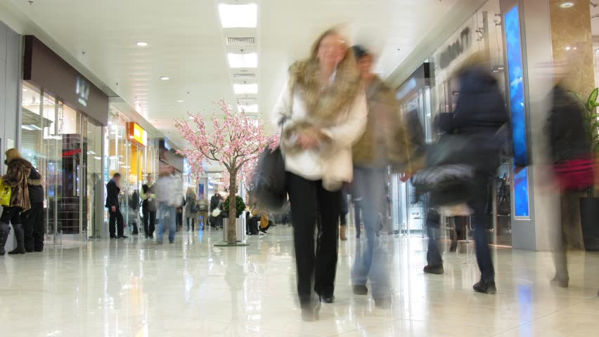 people in shopping corridor, time lapse  #344641