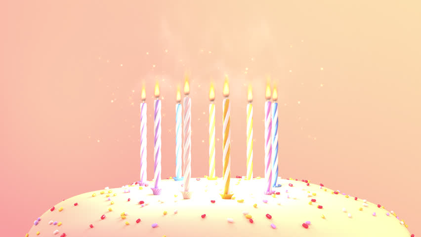Happy Birthday Cake With Colorful Sprinkles And Burning Candles Looped