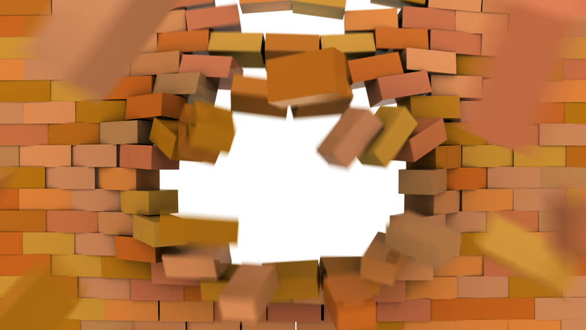 Brick wall crumbling | Shutterstock HD Video #3453848
