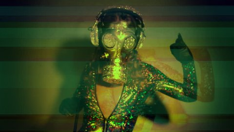beautiful and strange dancer woman with crystal covered silver gas mask in disco with overlayed glitch and data moshing effects. the gasmask is a handmade item from our own studio