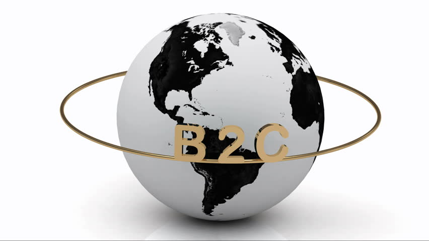 B2C on a gold ring rotates around the earth  | Shutterstock HD Video #3457571