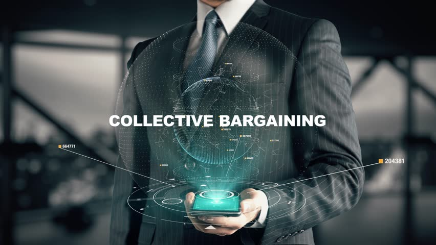 Businessman with Collective Bargaining hologram concept