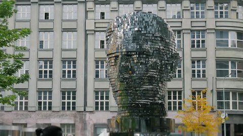 Franz Kafka's gigantic mechanical head, Praga Hlava Franze Kafky, mechanical statue, Franz Kafka, head, Prague, October 18, 2017