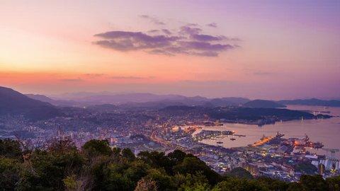 Sasebo, Nagasaki, Japan morning skyline time lapse.
