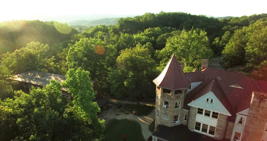 Aerial view pulling away from the Graceland Inn and Robert C. Byrd Center for Hospitality & Tourism on the campus of Davis & Elkins College in Elkins, WV.