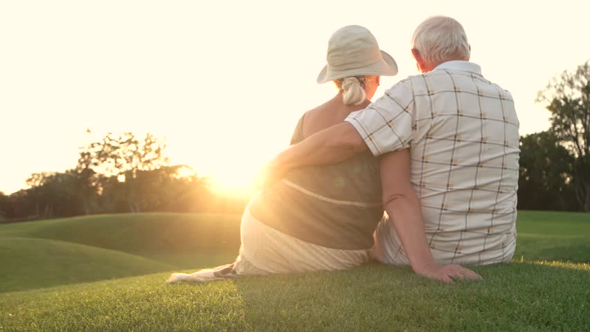 Elderly couple sitting outdoors, back view. Old man and woman sitting and hugging on grass, sunny day. | Shutterstock HD Video #34681759