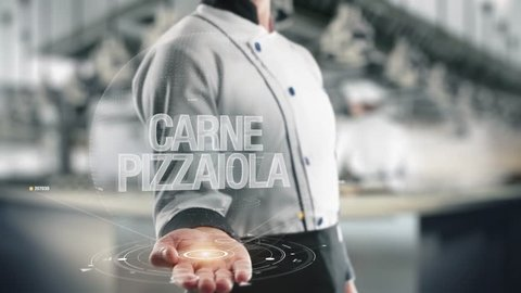 Chef holding in hand Carne Pizzaiola
