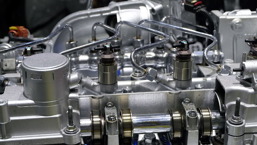 Powerful Internal Combustion Engine Stands On The Pedestal And ...