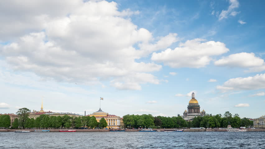 ST.PETERSBURG, RUSSIA - CIRCA SEPTEMBER 2017: Timelapse video of Neva river in the historical center of Saint-Petersburg, Russia