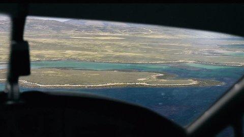 Airplane over Falkland Islands (Islas Malvinas). Pilot View.