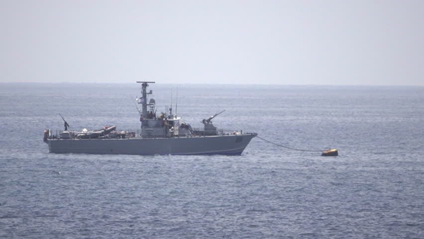 View of Israeli Naval vessel anchored in Mediterranean