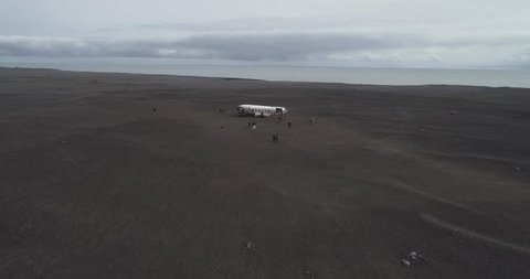 Old Military Plane Wreck (Aerial Drone View) - Sólheimasandur, Iceland