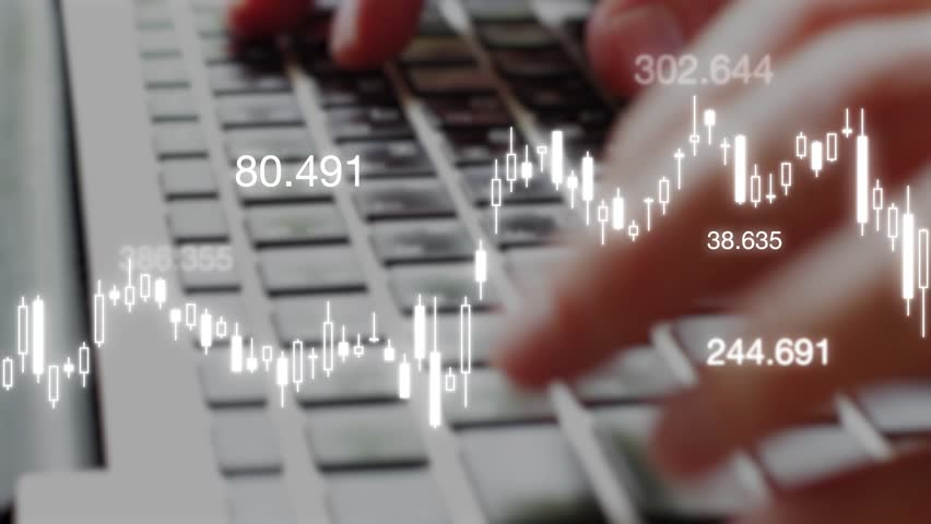 Trading and stock exchange market investment concept with candlestick chart  and quote price over footage of business person typing on computer background