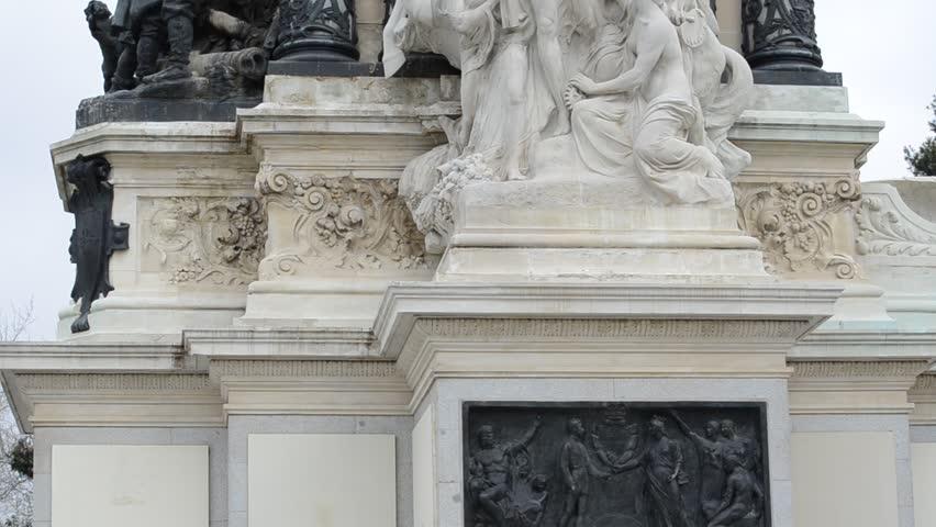The Buen Retiro Park. Madrid. An equestrian statue of King Alfonso XII Retiro Madrid Spain | Shutterstock HD Video #3488291