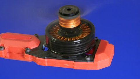 Drone motor begins to spin its propeller at high speeed  brushless dc  motors tend to be small a few watts to tens of watts, with permanent magnet  rotors  style of construction is cylindrical