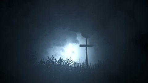 Single Grave in the Wile Marked with a Cross Under Storm