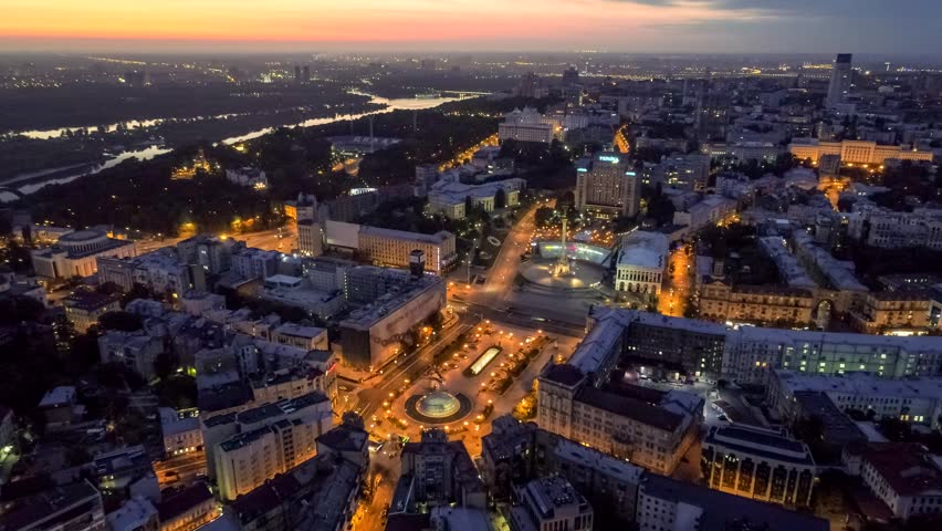 Early morning view of Maydan Nezalezhnosti, the central square of Kiev, Ukraine. Aerial drone shot. | Shutterstock HD Video #34895071